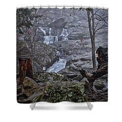 Shower Curtain featuring the photograph Cunningham Falls In The Rain And Fog by Mark Dodd