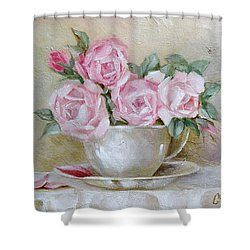Cup And Saucer Roses Shower Curtain by Chris Hobel