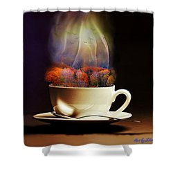 Cup Of Autumn Shower Curtain by Lilia D