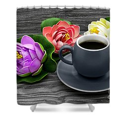 Cup Of Coffee And Artificial Colored Water Lilies Shower Curtain