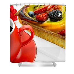 Cup Of Coffee And  Fruit Cake Shower Curtain