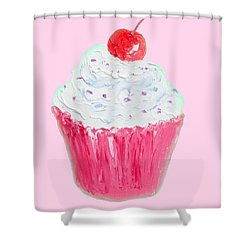 Cupcake Painting On Pink Background Shower Curtain by Jan Matson