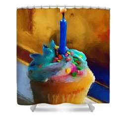Cupcake With Candle Shower Curtain by Jai Johnson