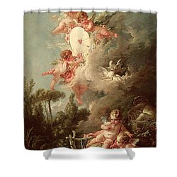 Cupids Target Shower Curtain by Francois Boucher