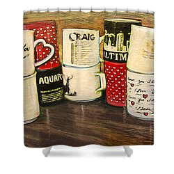 Cups Of Memory Shower Curtain by Ron Richard Baviello