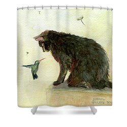 Shower Curtain featuring the painting Curiosity by Andrew Gillette