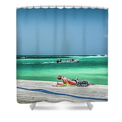 Curious Bikini Clad  Sunbather Shower Curtain