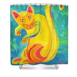 Curious Kitty Shower Curtain by Cathy Long