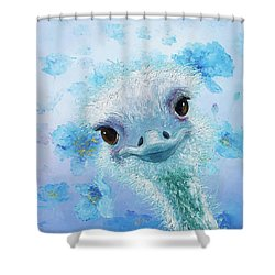 Curious Ostrich Shower Curtain by Jan Matson