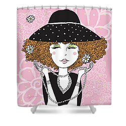 Curly Girl In Polka Dots Shower Curtain