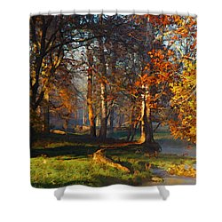 Curry Stream Fall Shower Curtain