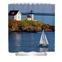 Curtis Island Lighthouse - D002652b Shower Curtain