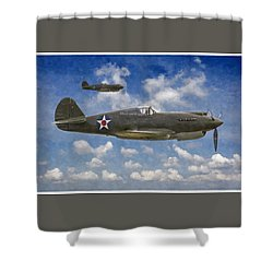 Shower Curtain featuring the digital art Curtis P-40 Warhawks by Kai Saarto