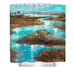 A Few Palms Shower Curtain by Linda Olsen