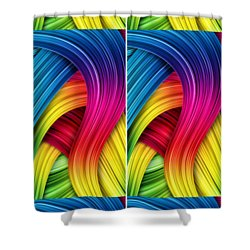 Curved Abstract Shower Curtain