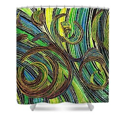 Curved Lines 4 Shower Curtain by Sarah Loft