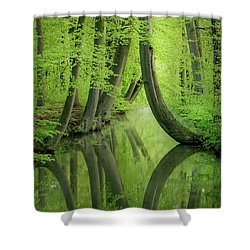 Curved Trees Shower Curtain