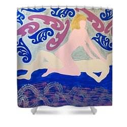 Shower Curtain featuring the painting Curves by Erika Chamberlin