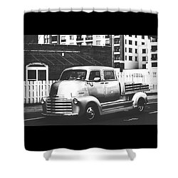 Shower Curtain featuring the photograph Custom Chevy Asbury Park Nj Black And White by Terry DeLuco