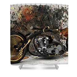 Custom Chopper Gold Shower Curtain