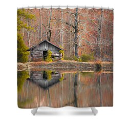 Custom Crop - Cabin By The Lake Shower Curtain by Shelby  Young