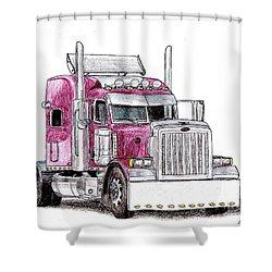 Custom Peterbilt Truck Cab Shower Curtain by Dan Poll