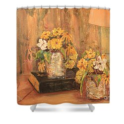 Cut Flowers By Eyeglasses Shower Curtain by Pat Craft