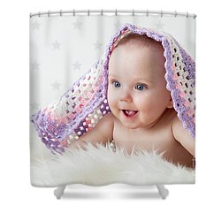 Cute Baby Laughing While Lying Under A Woollen Blanket. Shower Curtain