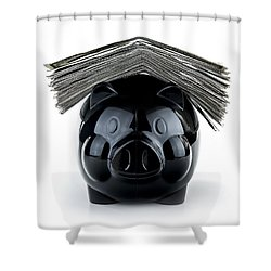 Cute Black Piggybank Shower Curtain