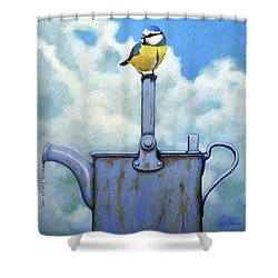 Shower Curtain featuring the painting Cute Blue-tit Realistic Bird Portrait On Antique Watering Can by Linda Apple