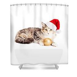 Cute Christmas Calico Kitten Shower Curtain