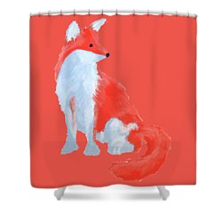 Cute Fox With Fluffy Tail Shower Curtain