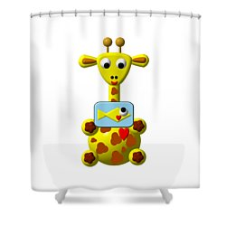 Cute Giraffe With Goldfish Shower Curtain by Rose Santuci-Sofranko