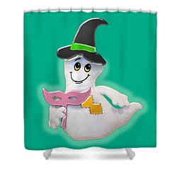 Cute Glowing Ghost Shower Curtain