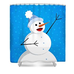 Cute Happy Snowman Shower Curtain