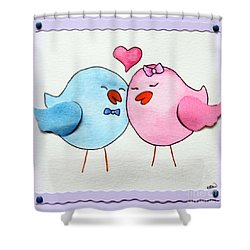 Cute Lovebirds Watercolour Shower Curtain by Terri Waters