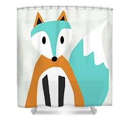 Cute Orange And Blue Fox- Art By Linda Woods Shower Curtain