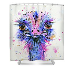 Cute Ostrich Shower Curtain by Zaira Dzhaubaeva