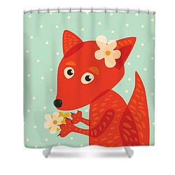 Cute Pretty Fox With Flowers Shower Curtain