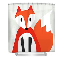 Cute Red And White Fox- Art By Linda Woods Shower Curtain