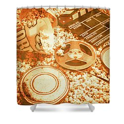 Cutting A Scene Of Vintage Film Shower Curtain by Jorgo Photography - Wall Art Gallery