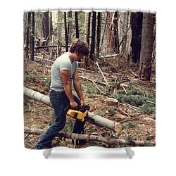 Cutting Wood In Blue Canyon Shower Curtain