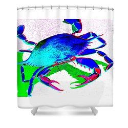 Cyan Crab Shower Curtain