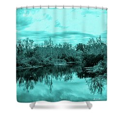 Shower Curtain featuring the photograph Cyan Dreaming - Sarasota Pond by Madeline Ellis