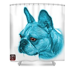 Cyan French Bulldog Pop Art - 0755 Wb Shower Curtain by James Ahn