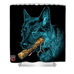 Shower Curtain featuring the digital art Cyan German Shepherd And Toy - 0745 F by James Ahn