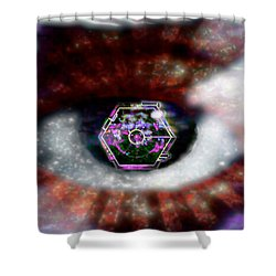 Cyber Oculus Cumulus Shower Curtain by Iowan Stone-Flowers