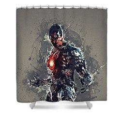 Cyborg Shower Curtain by Elena Kosvincheva