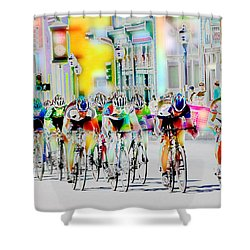 Cycling Down Main Street Usa Shower Curtain