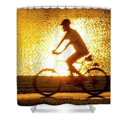 Cycling In Forest Park Shower Curtain